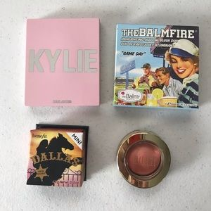 4 cheek products: Kylie, Benefit, TheBalm, Milani